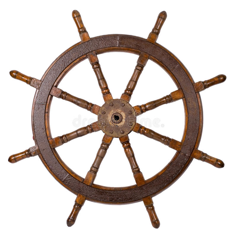 Het stuurwiel van de boot stock foto