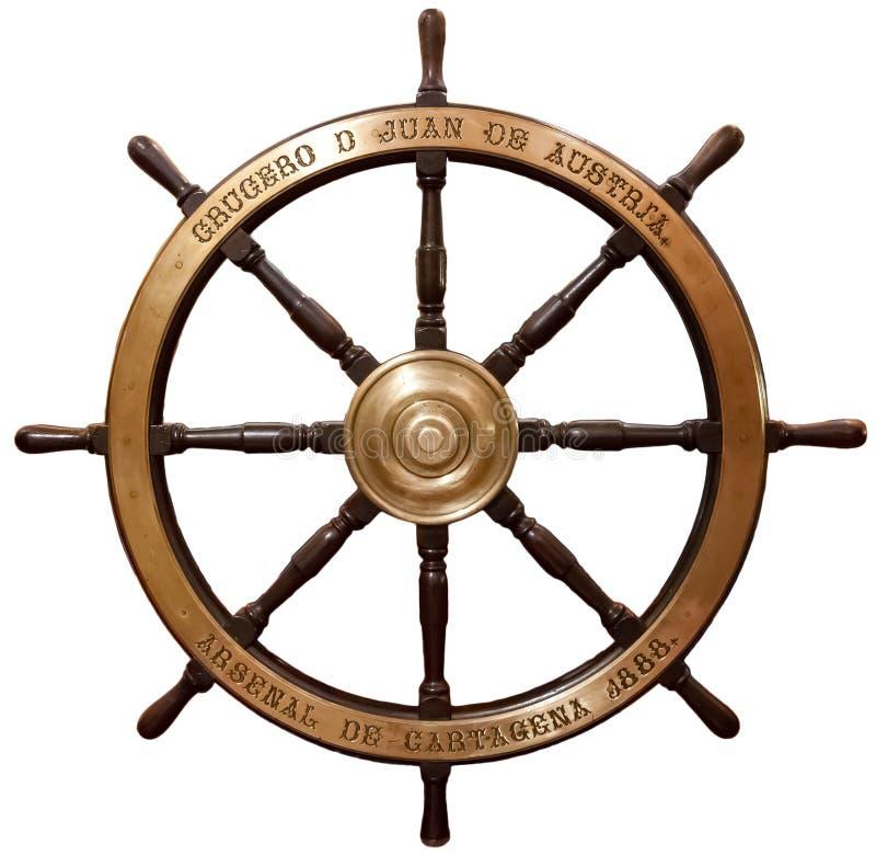 Het stuurwiel van het oude houten schip stock foto's