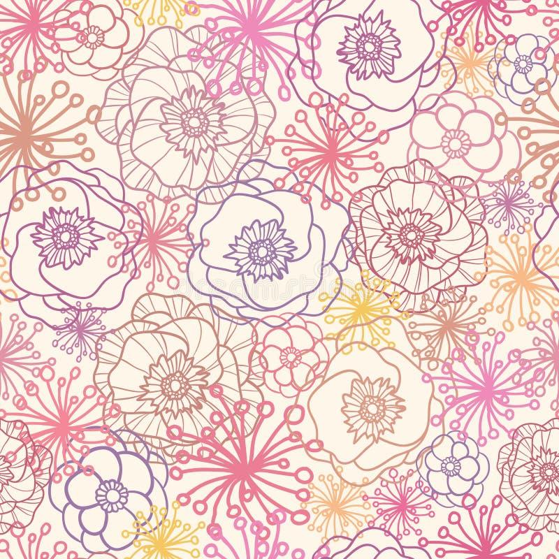 Het subtiele gebied bloeit naadloze patroonachtergrond royalty-vrije illustratie