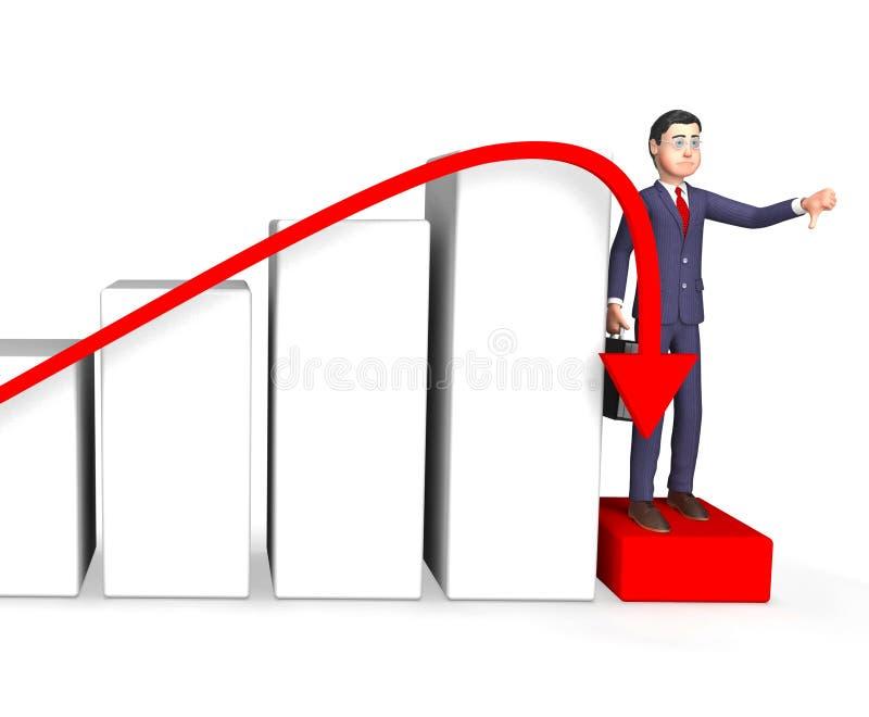 Het Succes van Shows Lack Of van de schuldzakenman en Boekhouding het 3d Teruggeven vector illustratie