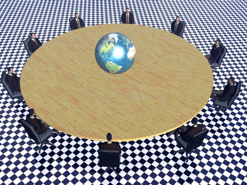 Het succesteam in conferentie wereldwijd. vector illustratie