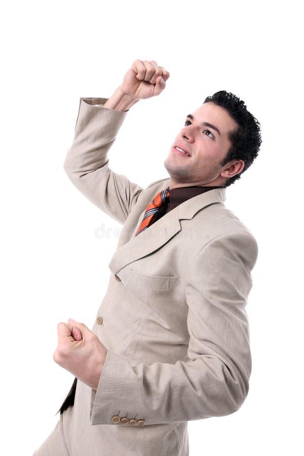 Het succesvolle jonge zakenman toejuichen stock fotografie
