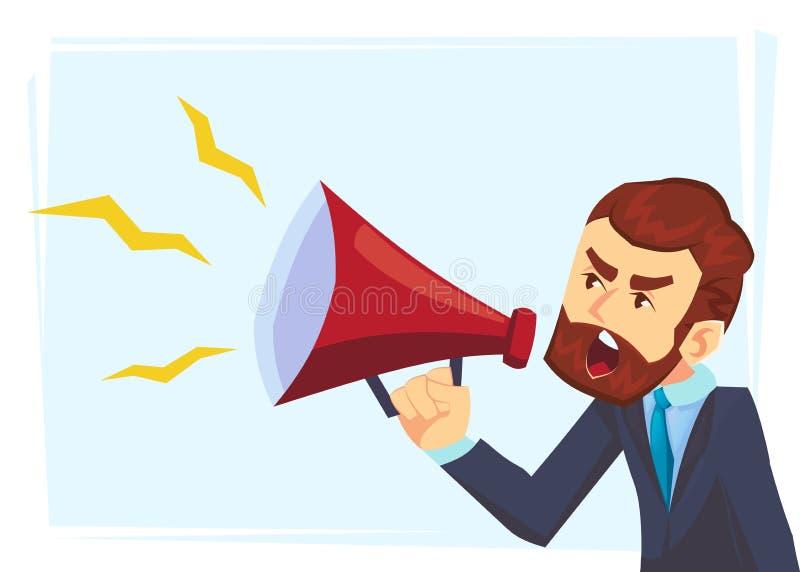 Het succesvolle karakter die van de baardzakenman door luide spreker schreeuwen Leidingstoespraak Bedrijfs conceptenillustratie vector illustratie
