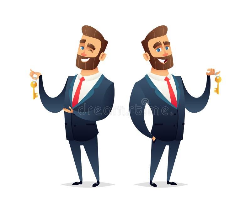 Het succesvolle karakter van de baardzakenman houdt een sleutel van auto, huis of flat Bedrijfs conceptenillustratie stock illustratie