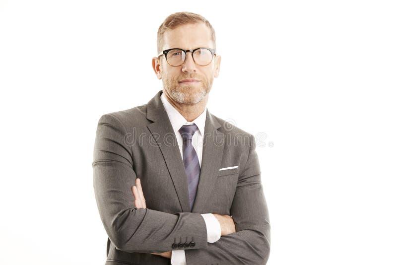 Het succesvolle portret van de zakenmanstudio royalty-vrije stock foto