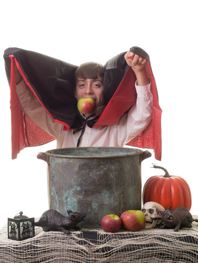 Het succesvolle Spel van Bobbing van de Appel van Halloween stock foto's