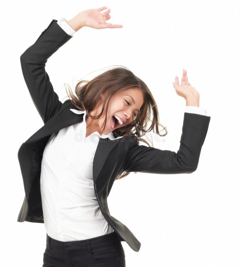 Het succesvolle winnaar dansen van vreugde stock foto