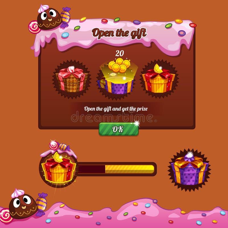 Het suikergoed van het het ontwerpthema van het interfacespel royalty-vrije stock afbeelding