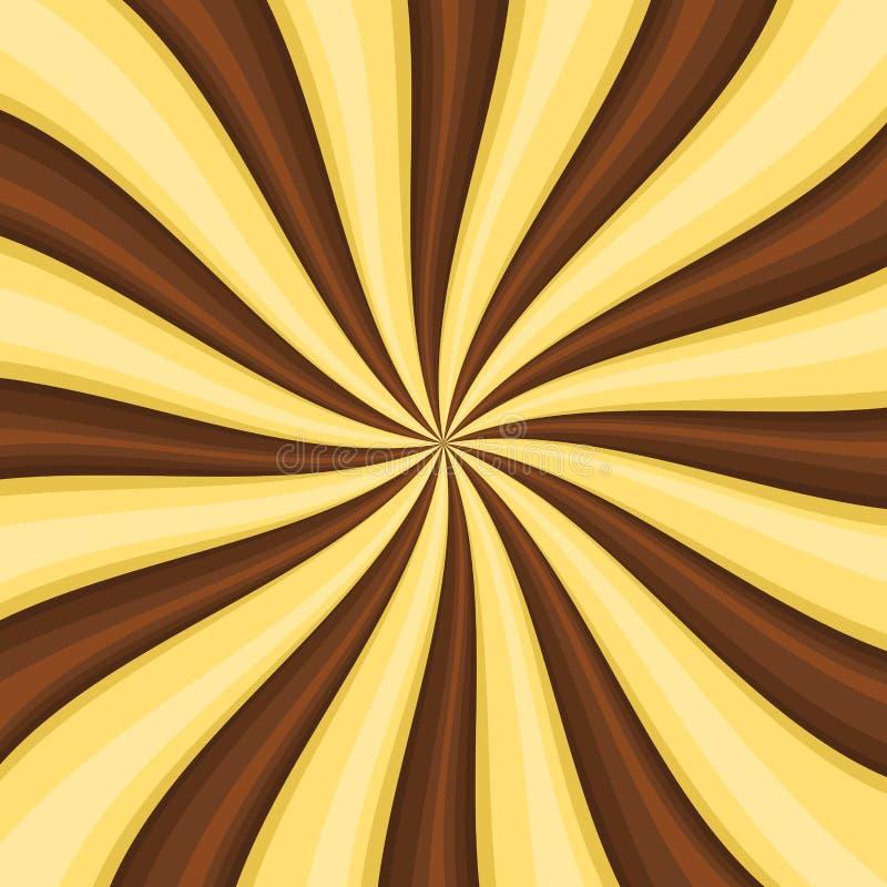 Het Suikergoedachtergrond van chocoladelollypop met het Wervelen, het Roteren, Tollende Strepen Vector royalty-vrije illustratie