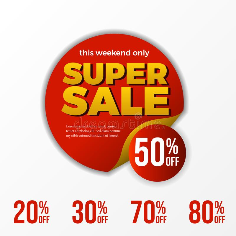 Het super malplaatje van de verkoopbanner deze weekend slechts korting tot 50 percentage stock illustratie