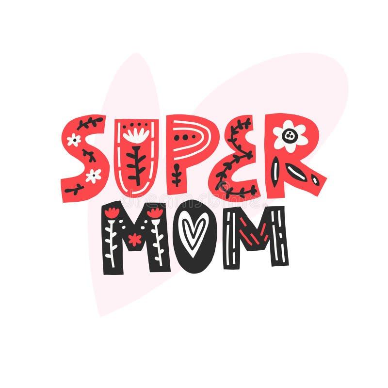 Het super Mamma Van letters voorzien vector illustratie