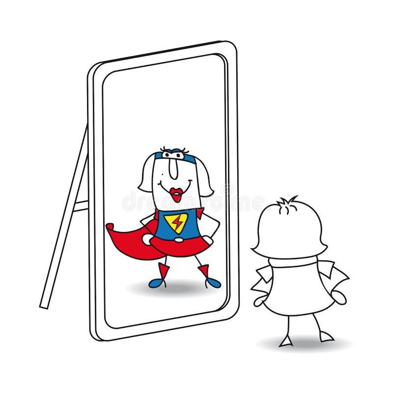 Het super meisje van Karen in de spiegel royalty-vrije illustratie