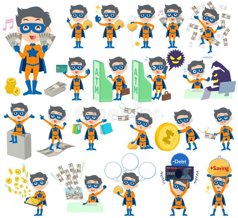 Het super oranje Blauwe geld van de heldenmens royalty-vrije illustratie