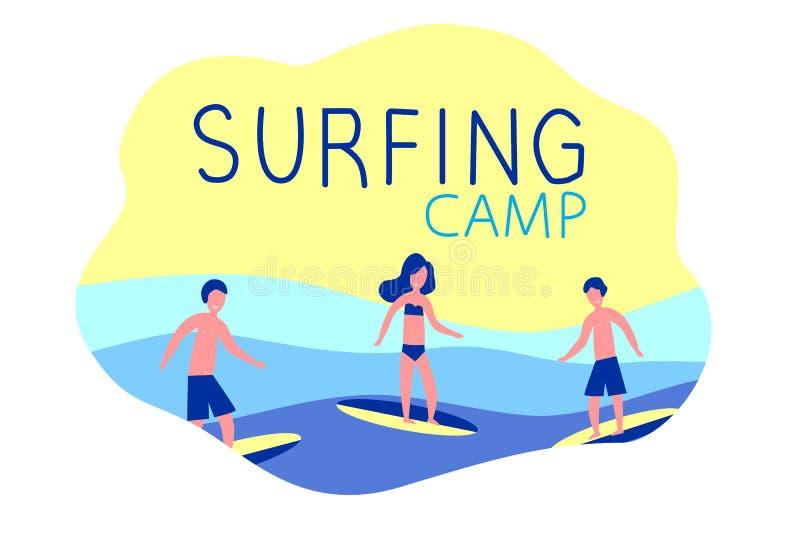 Het surfen kamp - actieve reis Surfers met surfplanken Oceaan, golf vector illustratie