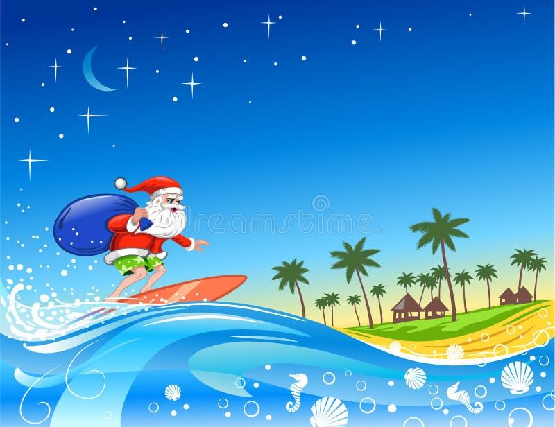 Het surfen Kerstman met Giften stock illustratie