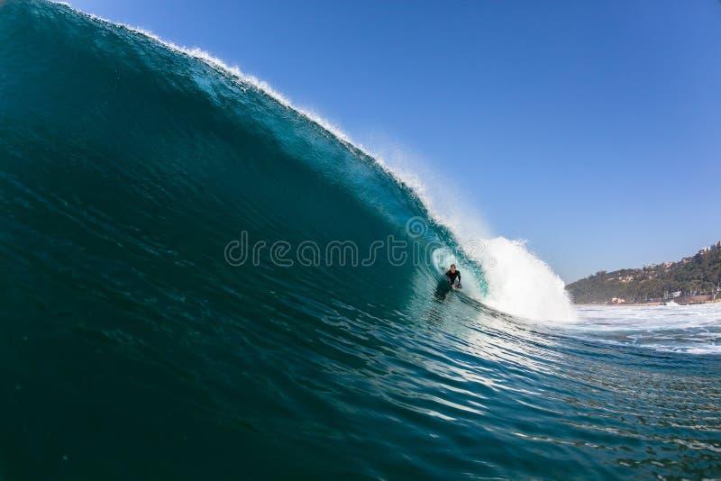 Het surfen lichaam-Pensionair Holle Blauwe Oceaangolf royalty-vrije stock fotografie