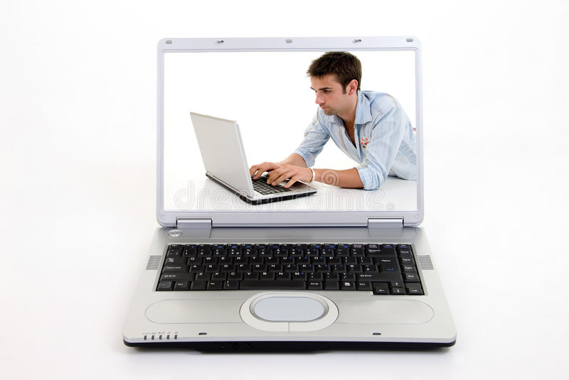Het surfen op Laptop Computer royalty-vrije stock foto