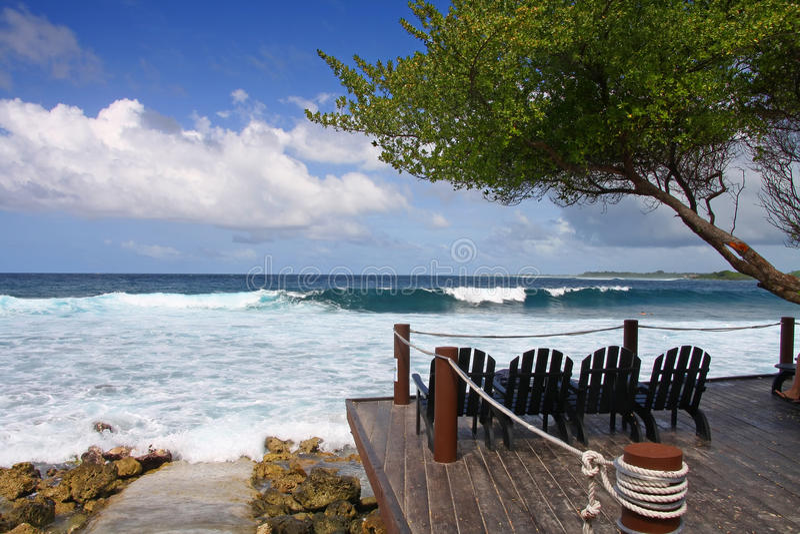 Het surfen strandmening royalty-vrije stock afbeelding