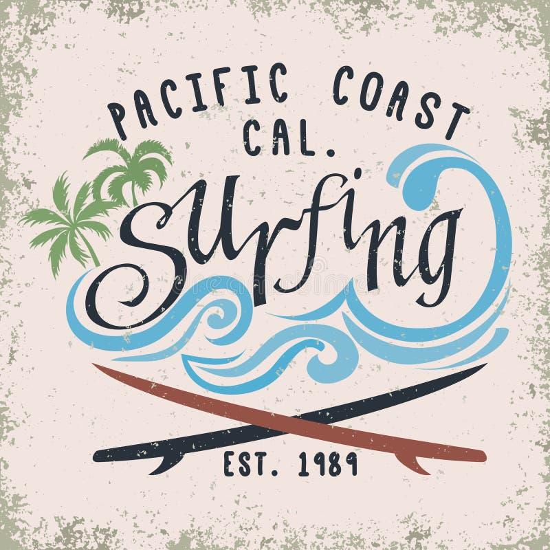 Het surfen t-shirt grafisch ontwerp vector illustratie
