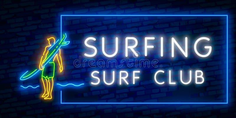 Het surfen van Affiche in Neonstijl Gloeiend Teken voor Brandingsclub of Winkel Surfplanken Elektrische Pictogrammen op Bakstenen stock illustratie