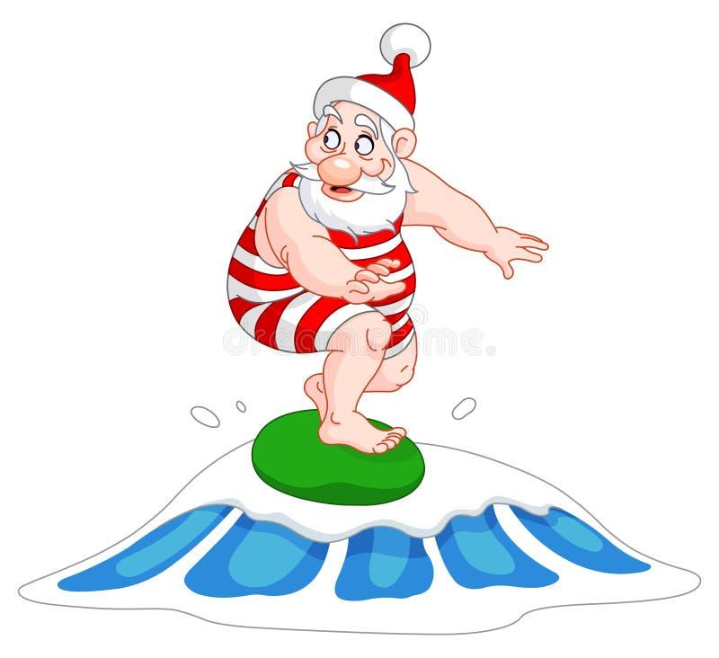 Het surfen van de kerstman stock illustratie