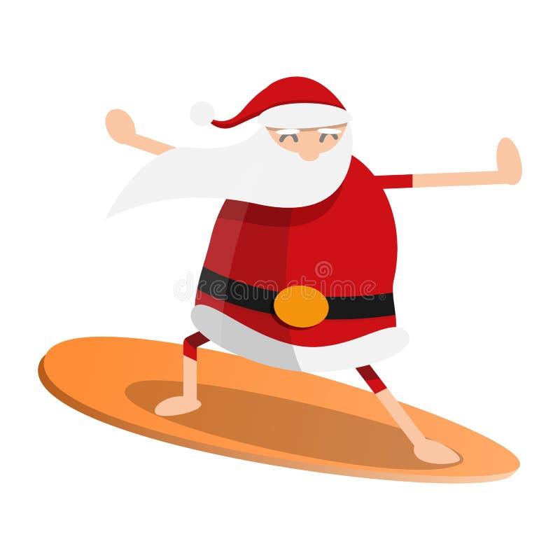 Het surfen van de Kerstman pictogram, beeldverhaalstijl vector illustratie