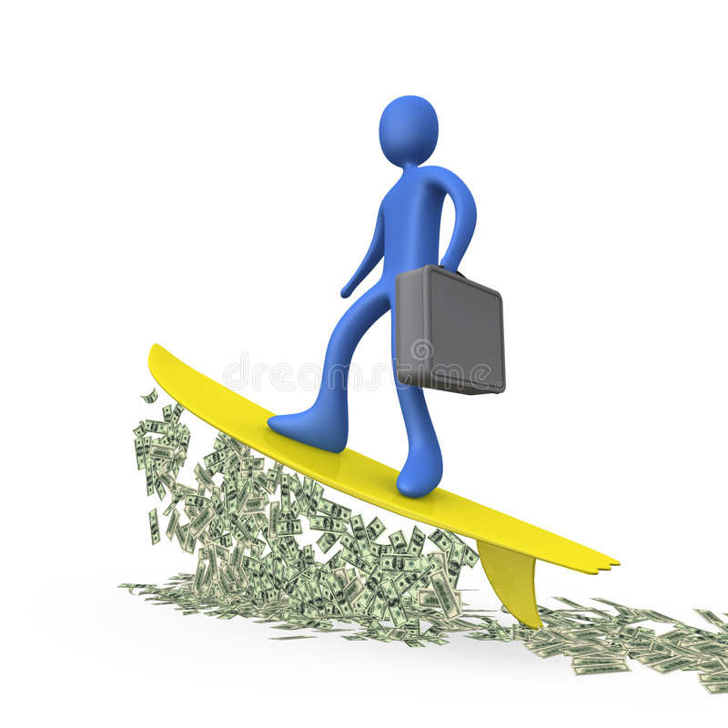 Het Surfen van het geld royalty-vrije illustratie