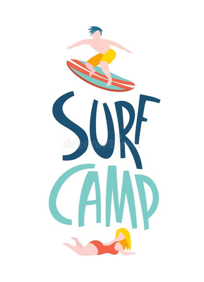 Het surfen van kerels in de oceaan Brandingskamp het van letters voorzien stock illustratie