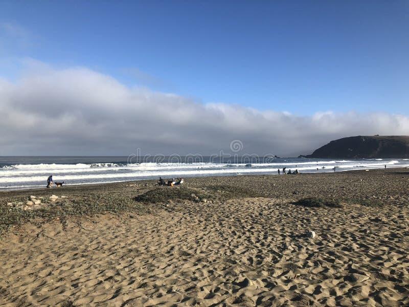 Het surfen zittingen in Lindamar, pacifica, Californië stock afbeelding