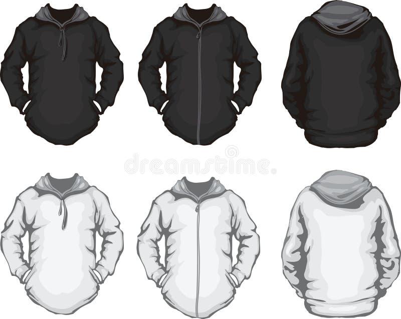 Het sweatshirtmalplaatje van zwarte witte mensen hoodie stock illustratie