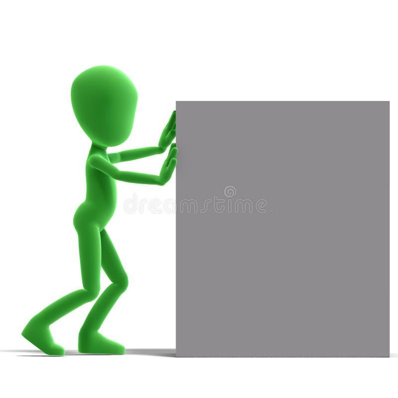 Het symbolische 3d mannelijke karakter van Toon duwt een grote doos stock illustratie