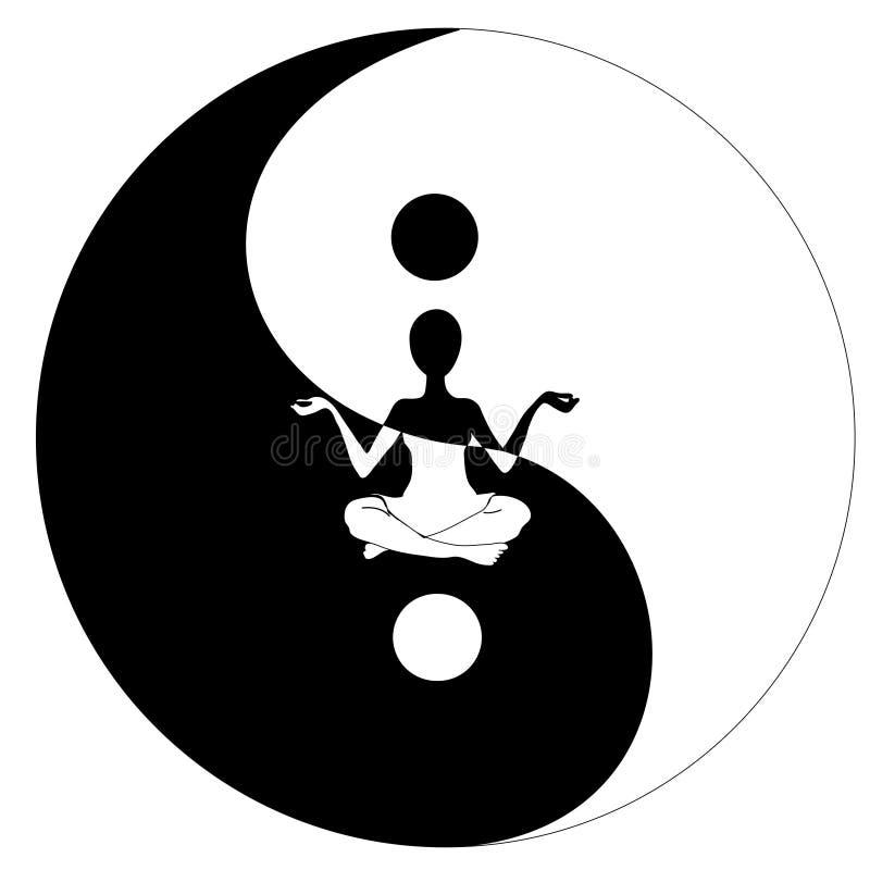 Het symbool en de Yoga van Yin yang vector illustratie