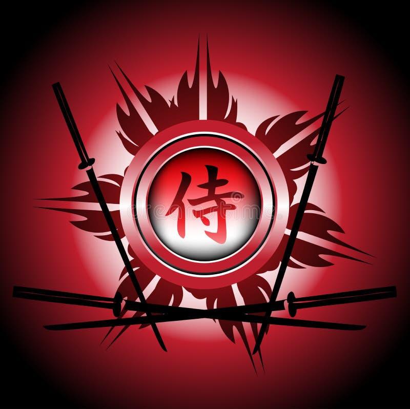 Het symbool en de zwaarden van samoeraien royalty-vrije illustratie