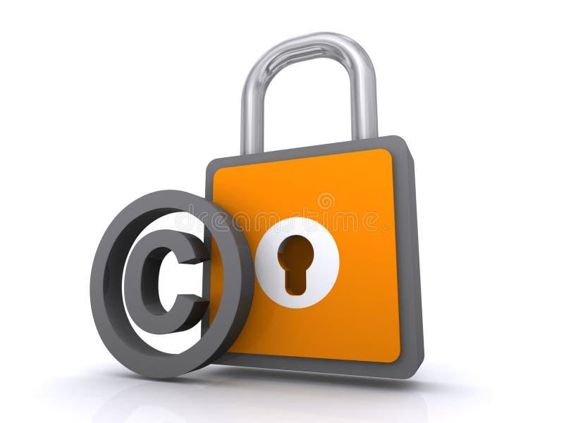 Het symbool en het hangslot van Copyright   vector illustratie