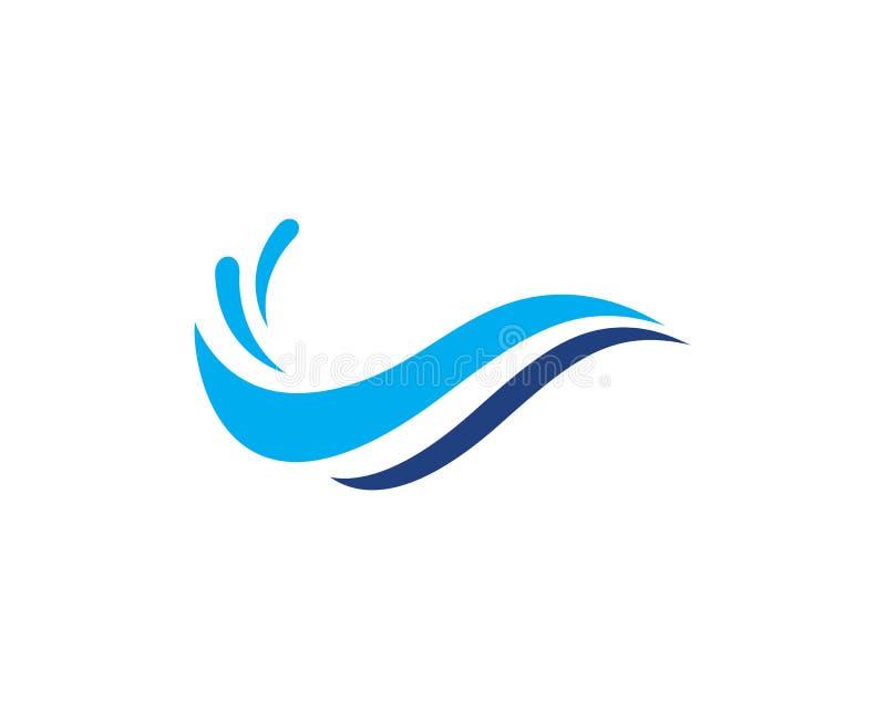 Het symbool en pictogram Logo Template van de watergolf royalty-vrije illustratie
