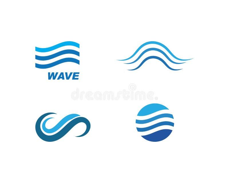 Het symbool en pictogram Logo Template van de watergolf vector illustratie