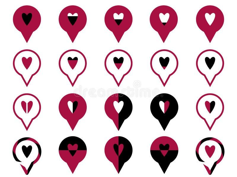 Het symbool houdt van rood rondschrijven stock illustratie