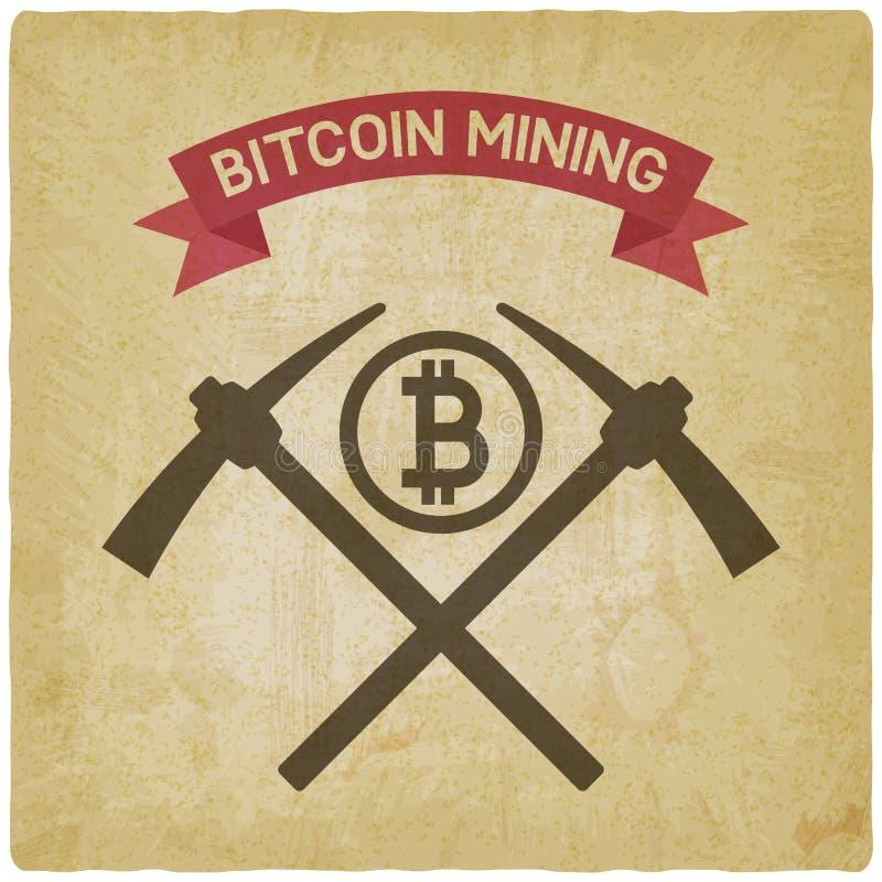 Het symbool uitstekende achtergrond van de Bitcoinmijnbouw vector illustratie