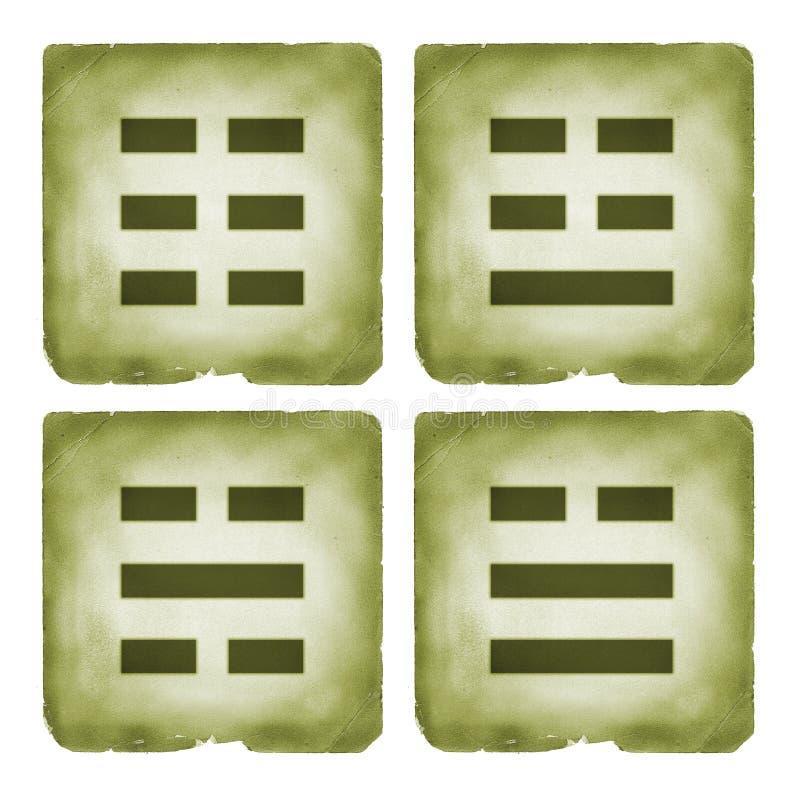 Het symbool uitstekende stijl van Bagua trigrams stock illustratie