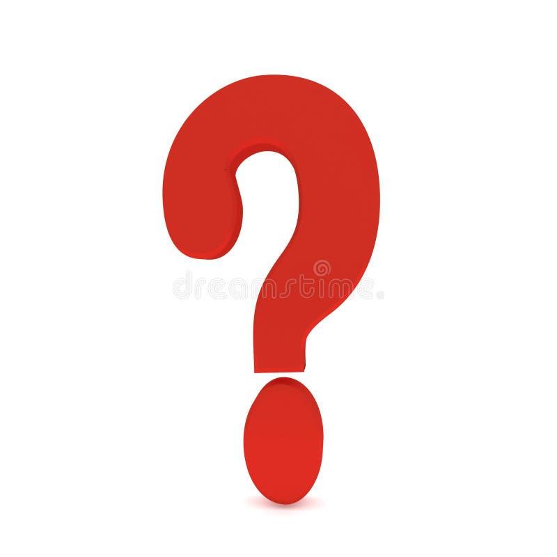 Het symbool van het bedrijfs vraagtekenpunt rode glanzende grafische groot het 3d teruggeven royalty-vrije illustratie