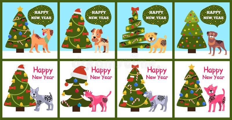 Het Symbool van beeldverhaalhonden van de Wensen Gelukkig Nieuwjaar van 2018 vector illustratie
