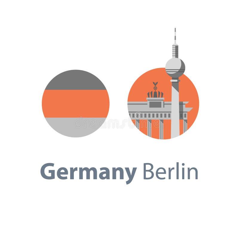 Het symbool van Berlijn, de poort van Brandenburg en toren, de reisbestemming van Duitsland, beroemd oriëntatiepunt, toerismeconc stock illustratie