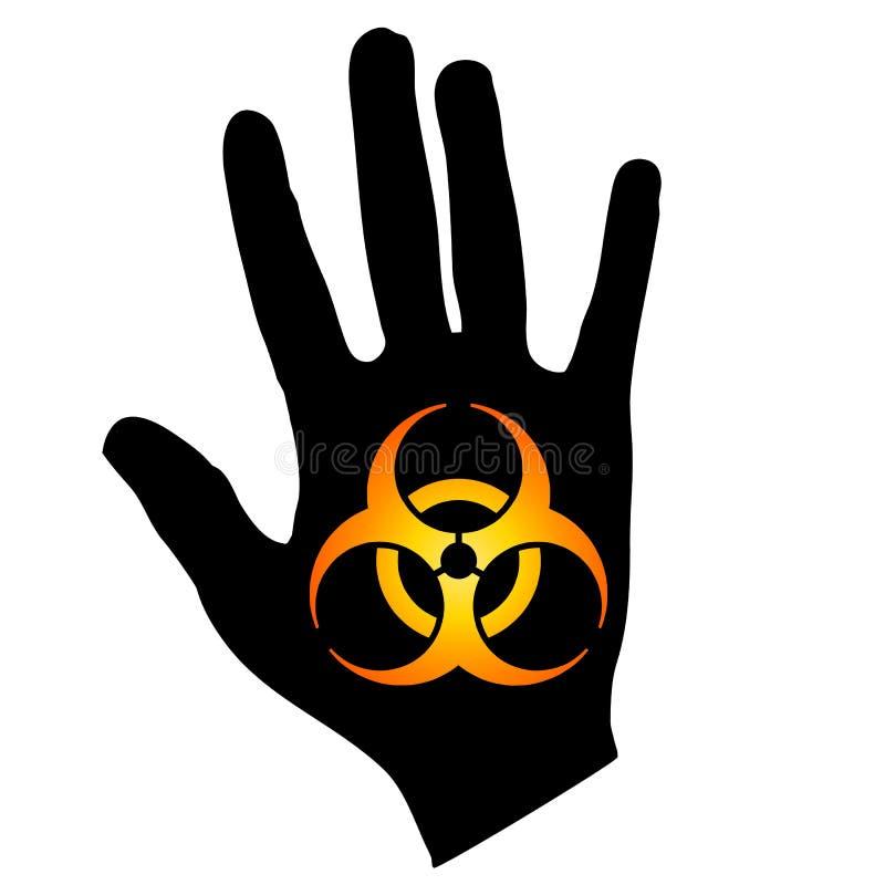 Het Symbool van Biohazard op de Gouden Zwarte van de Hand vector illustratie