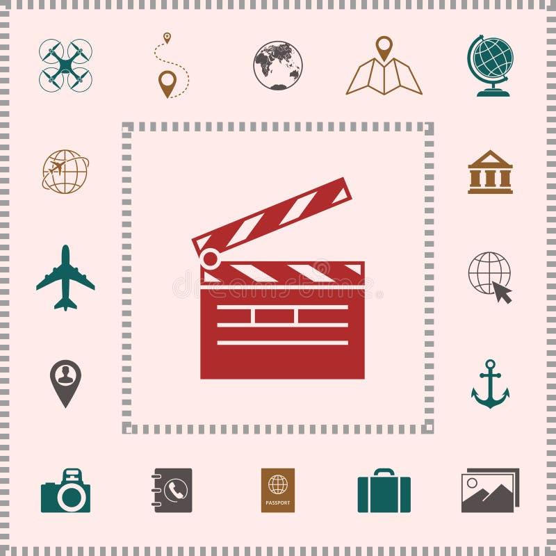 Het symbool van het Clapperboardpictogram vector illustratie