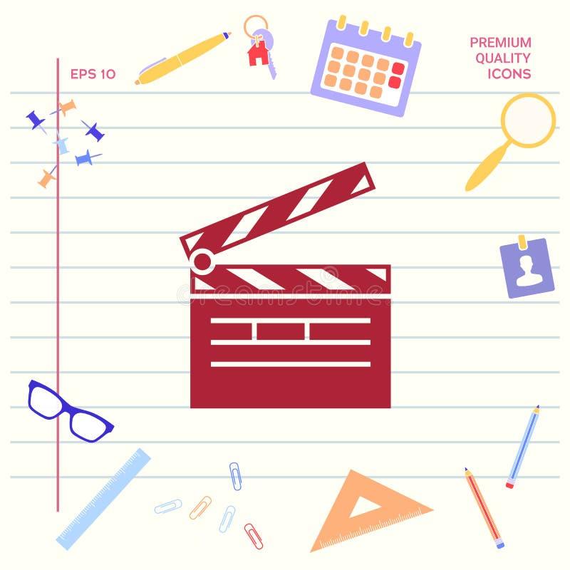 Het symbool van het Clapperboardpictogram royalty-vrije illustratie
