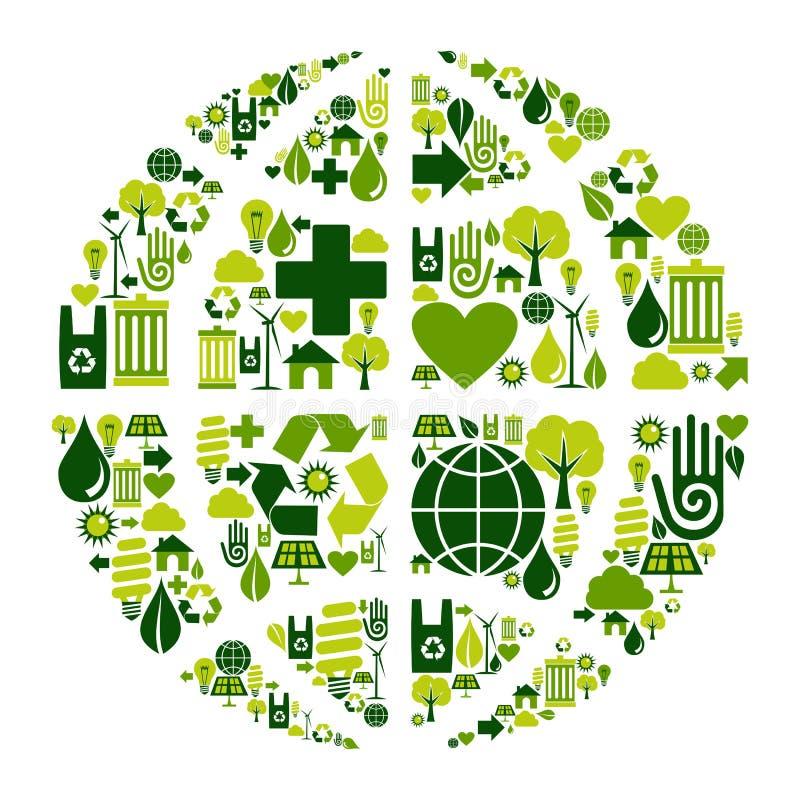 Het symbool van de Bol van de aarde met milieupictogrammen stock illustratie