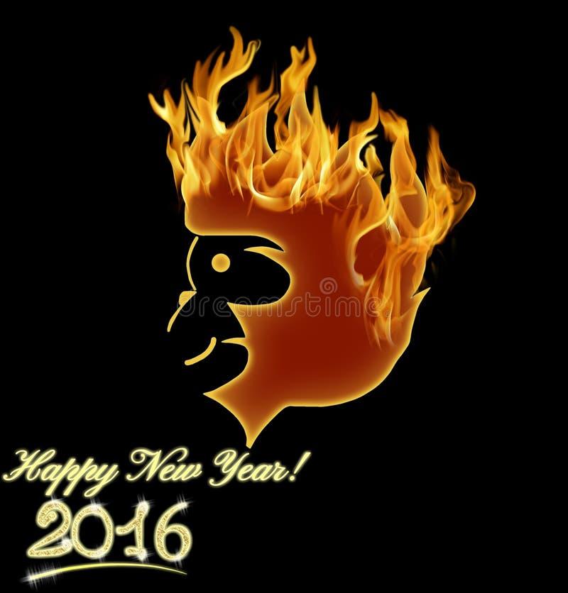Het symbool 2016 van de brandaap Illustratie royalty-vrije illustratie