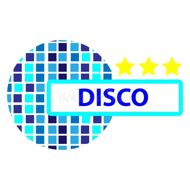 Het symbool van de discobal met sterren op witte backgroud worden geïsoleerd die vector illustratie
