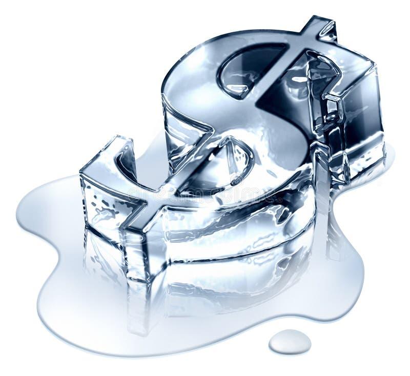 Het symbool van de dollar in smeltend ijs stock illustratie