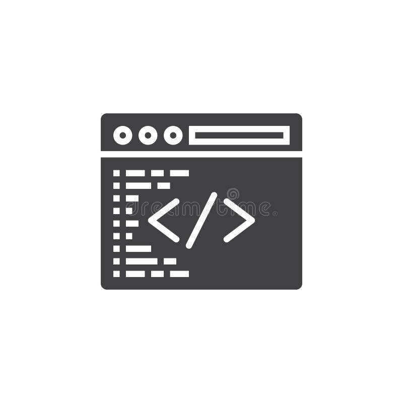 Het symbool van de douanecodage Programmerend pictogram vector, gevuld vlak teken, royalty-vrije illustratie